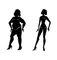 fat woman and slender woman silhouettes vector image