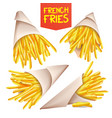 french fries potatoes paper bag cone vector image vector image