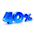 glossy blue 40 forty percent off sale isolated vector image vector image