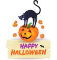 halloween pumpkin with black cat and wooden sign vector image vector image
