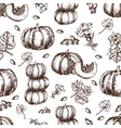 hand drawn seamless pattern sketch pumpkin vector image