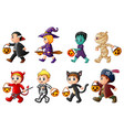 happy halloween set of cute cartoon children in h vector image vector image
