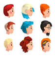 head of girls with fashion hairstyles set profile vector image vector image