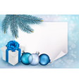 holiday blue background with christmas sheet vector image