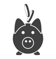 icon piggy bank with falling coins into it vector image vector image