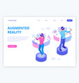 isometric man and woman wearing virtual reality vector image