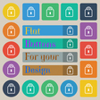 Lock icon sign Set of twenty colored flat round vector image vector image