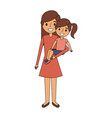 mom carrying her little daughter vector image