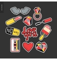 Patches hand drawn set vector image