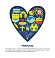 portugal concept with icons in flat style and vector image vector image
