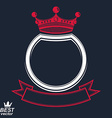 ring with 3d imperial crown and festive ribbon vector image