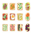 sandwich breakfast toast set bread slices toasted vector image