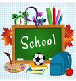 school supplies on sheet of paper vector image vector image