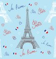Seamless pattern with eiffel tower