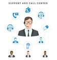 Set of call center service and support icons vector image vector image