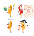 set of cute funny pencil cartoon education vector image