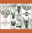 set three beer design templates hand drawn pub vector image