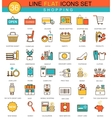 Shopping flat line icon set Modern elegant vector image
