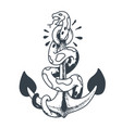 snake sits on an anchor vector image vector image