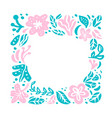 summer floral frame tropical composition vector image vector image
