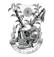 swords and nails are inserted into the skull vector image