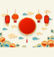 template with circle and chinese lanterns and vector image vector image