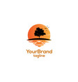 tree with sunset logo template vector image