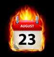 twenty-third august in calendar burning icon on vector image vector image
