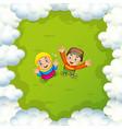 two muslim kids waving hands vector image