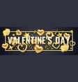 valentines day horizontal banner with shining vector image