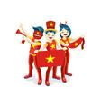 vietnameses with vietnam flag symbol vector image