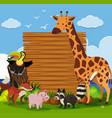 wooden board template with wild animals in garden vector image vector image