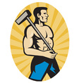 worker with sledge hammer side view set insid vector image vector image