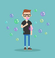 young character blowing soap bubbles flat vector image vector image
