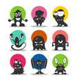 cute cartoon avatars and icons black monsters set vector image