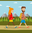young couple of hikers with backpacks vector image