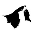 black silhouette country borders map of brunei on vector image