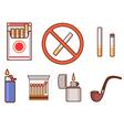Smoking flat icon set vector image