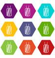 army badge icon set color hexahedron vector image