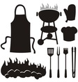 barbecue silhouettes vector image vector image