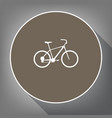 bicycle bike sign white icon on brown vector image