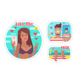 blogger woman using phone taking selfie vector image vector image