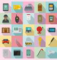 burglar robber plunderer icons set flat style vector image