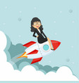 businesswoman sitting on on a flying rocket vector image