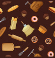 cartoon bakery pattern or background vector image vector image