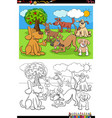 cartoon happy dogs group coloring book page vector image