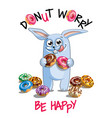 Cartoon rabbit with donuts vector image