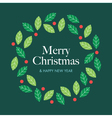 christmas card with wreath mistletoe vector image vector image