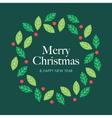 christmas card with wreath mistletoe vector image vector image