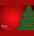 christmas tree on gradient red background vector image